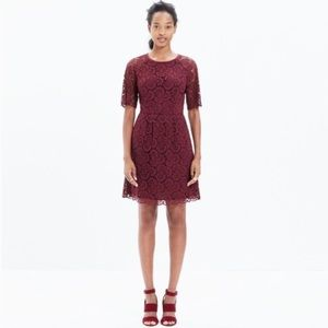 Madewell Magnolia Floral Lace Dress Wine Burgundy